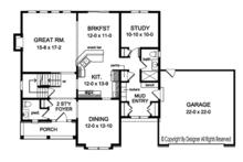 Colonial Floor Plan - Main Floor Plan Plan #1010-157