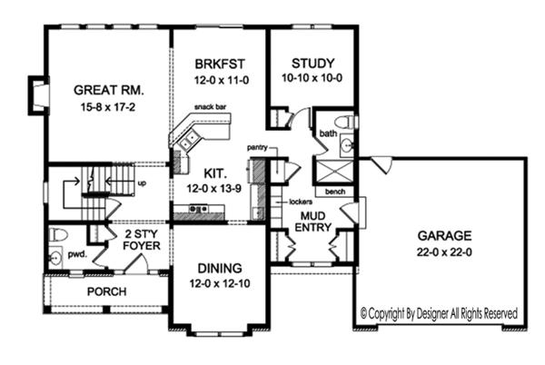 House Plan Design - Colonial Floor Plan - Main Floor Plan #1010-157