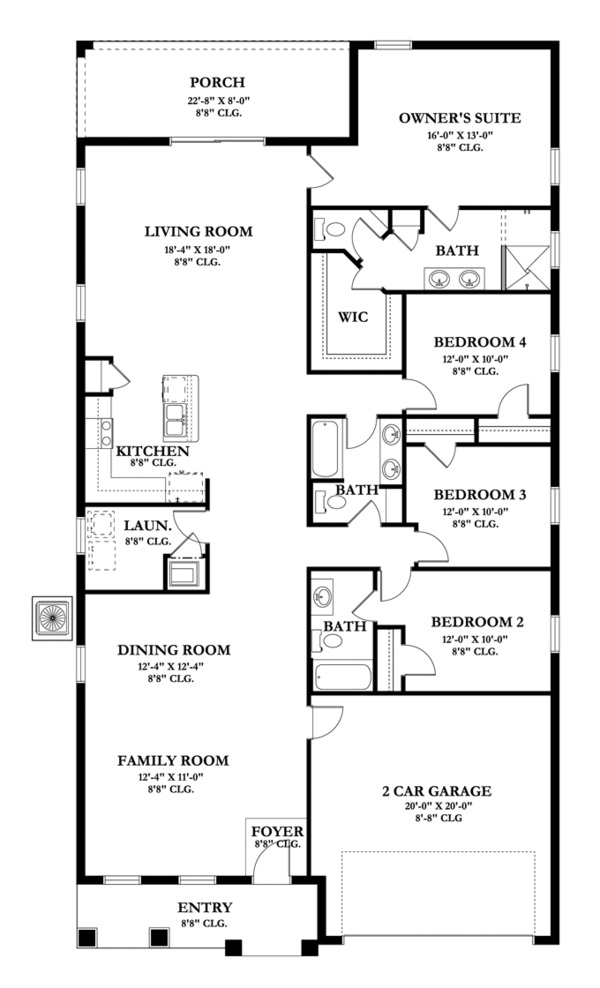 Craftsman Floor Plan - Main Floor Plan Plan #1058-60