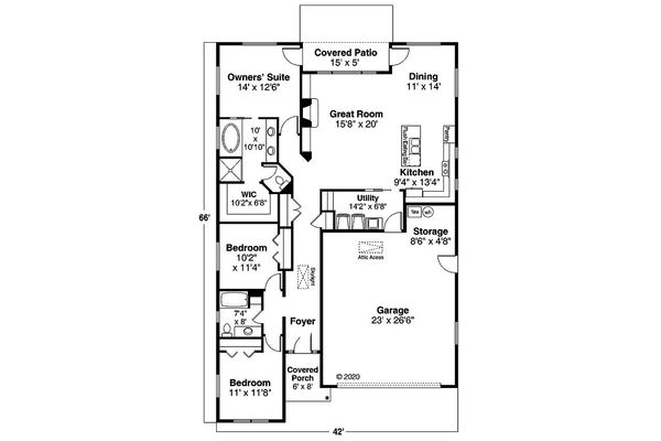 Home Plan - Ranch Floor Plan - Main Floor Plan #124-1191