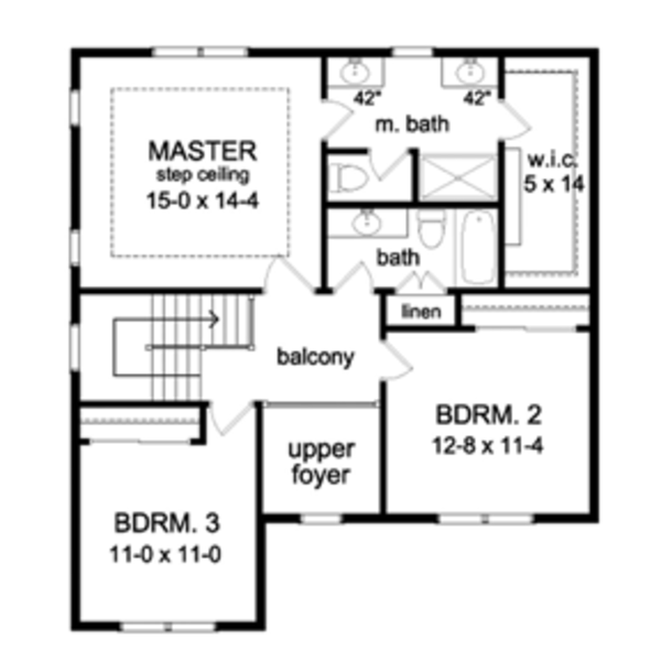 Colonial Floor Plan - Upper Floor Plan Plan #1010-49