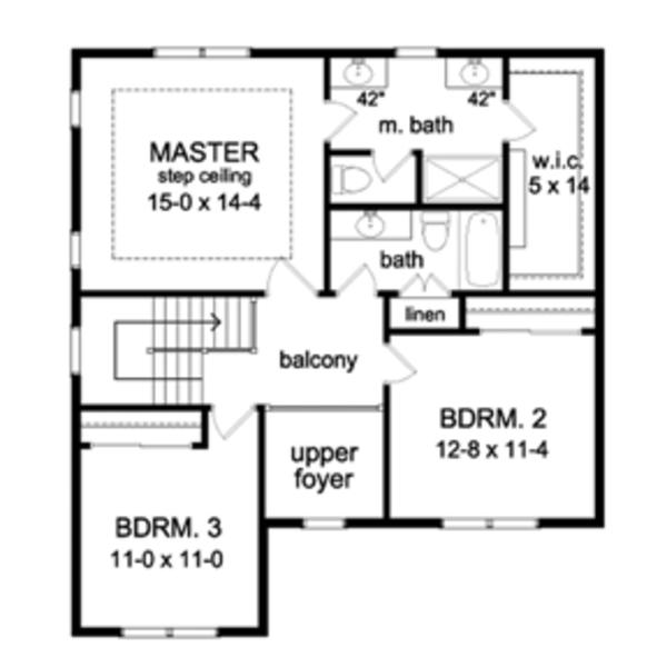 Architectural House Design - Colonial Floor Plan - Upper Floor Plan #1010-49