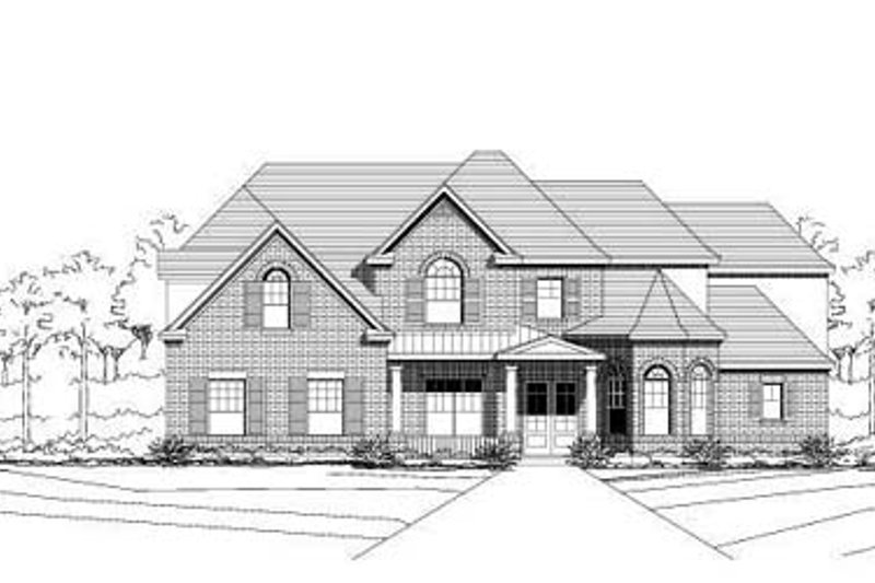 Traditional Style House Plan - 5 Beds 3 Baths 4439 Sq/Ft Plan #411-197 Exterior - Front Elevation