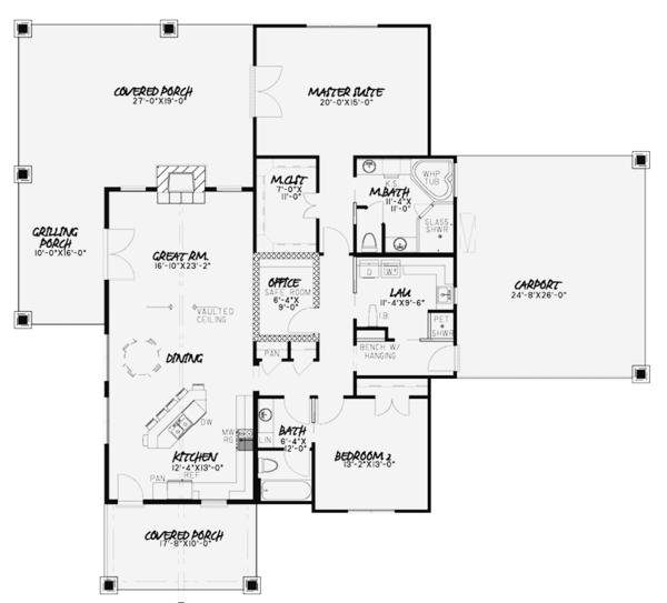 Country Floor Plan - Main Floor Plan Plan #17-3375