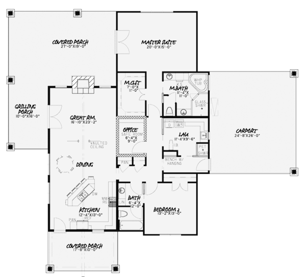 House Plan Design - Country Floor Plan - Main Floor Plan #17-3375