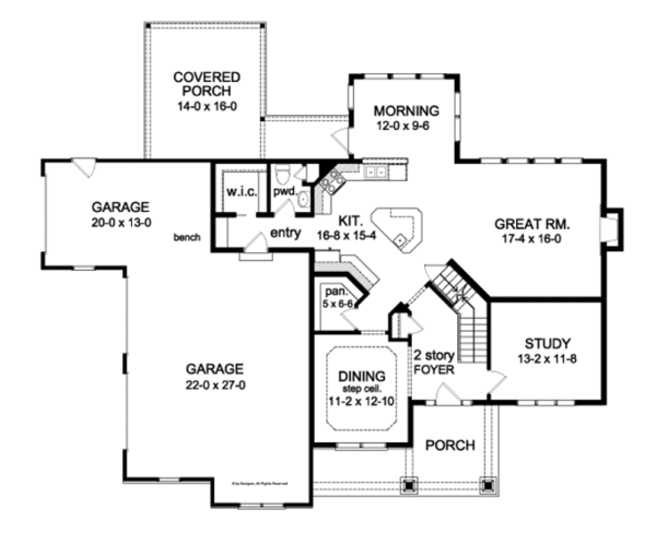 Craftsman Floor Plan - Main Floor Plan Plan #1010-93