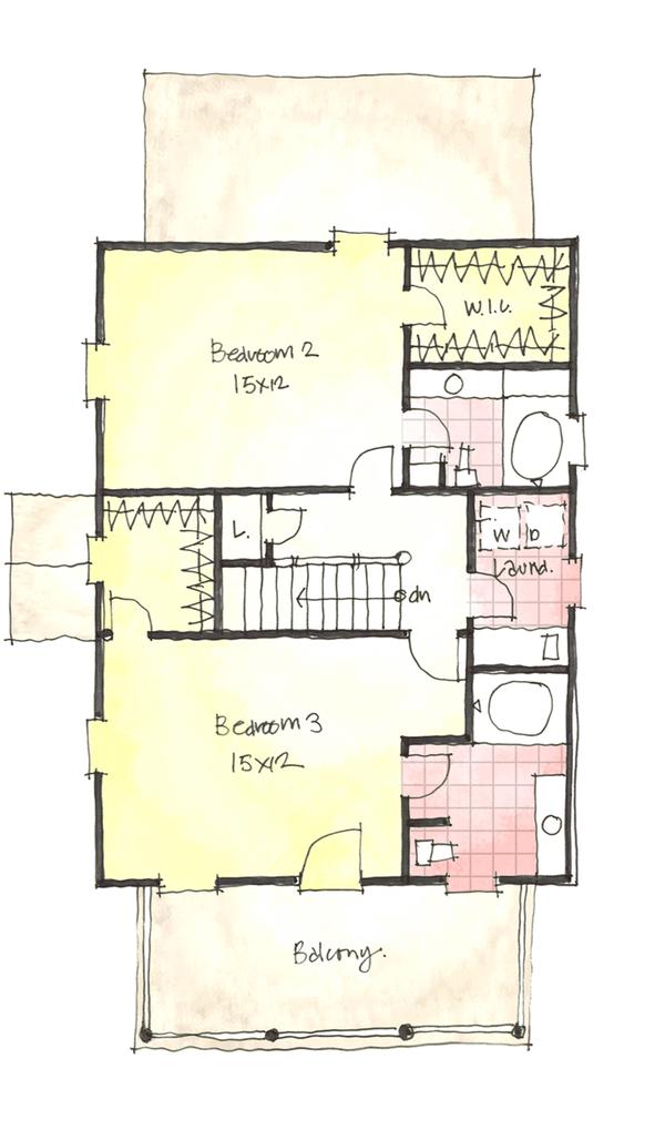 Colonial Floor Plan - Upper Floor Plan Plan #1053-37