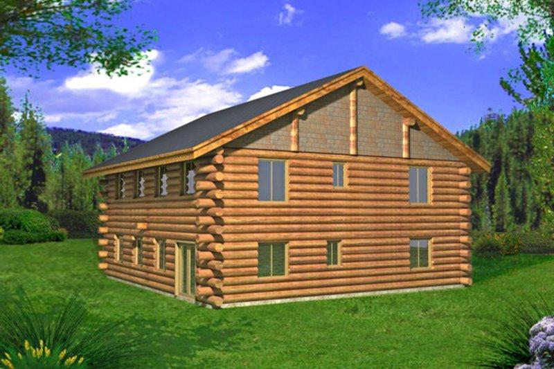 Log Exterior - Rear Elevation Plan #117-827