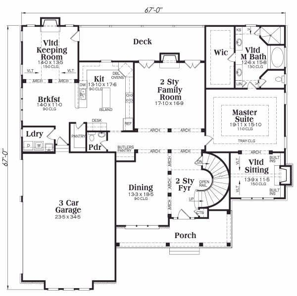 Traditional Floor Plan - Main Floor Plan Plan #419-174