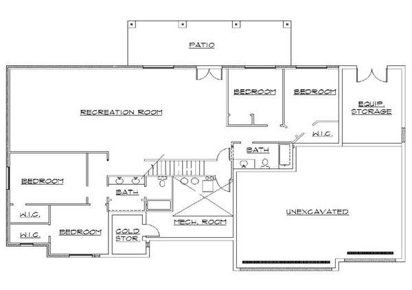 House Plan Design - Traditional Floor Plan - Lower Floor Plan #5-268