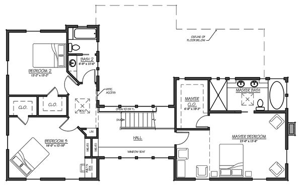 Farmhouse Floor Plan - Upper Floor Plan Plan #485-4
