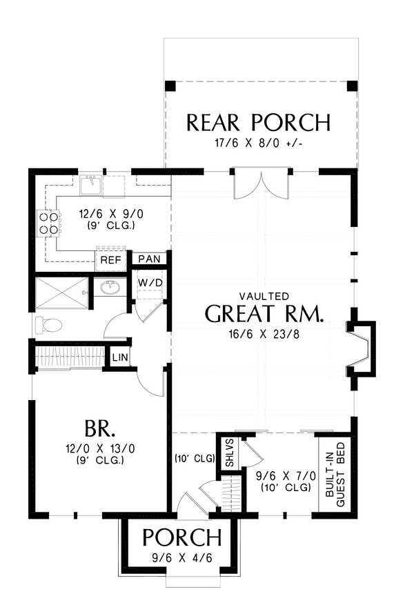European Floor Plan - Main Floor Plan Plan #48-1012