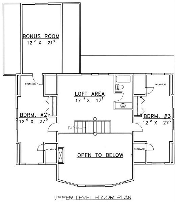Bungalow Floor Plan - Upper Floor Plan Plan #117-546