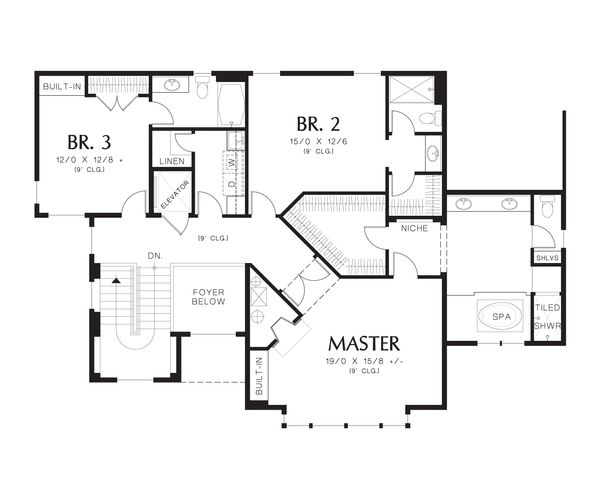Modern Floor Plan - Upper Floor Plan Plan #48-613