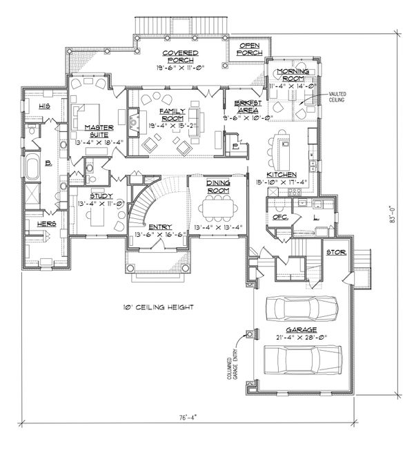 Traditional Floor Plan - Main Floor Plan Plan #1054-24