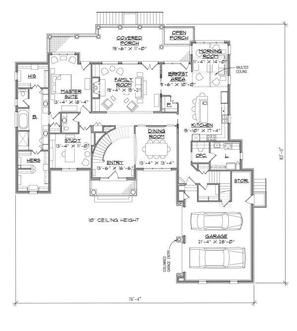 House Plan Design - Traditional Floor Plan - Main Floor Plan #1054-24