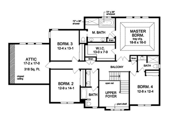 Colonial Floor Plan - Upper Floor Plan Plan #1010-177