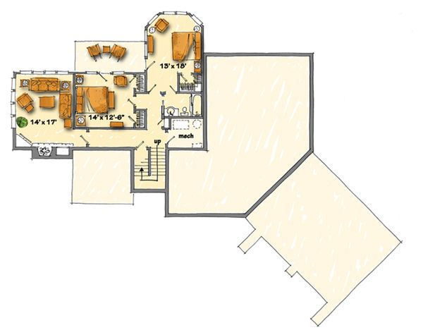 Country Floor Plan - Lower Floor Plan Plan #942-29
