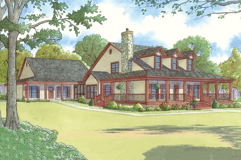 Country Exterior - Front Elevation Plan #923-22