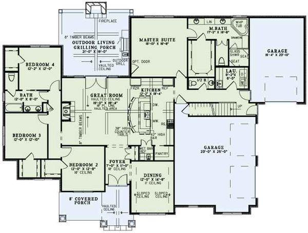 Craftsman Floor Plan - Main Floor Plan #17-3391