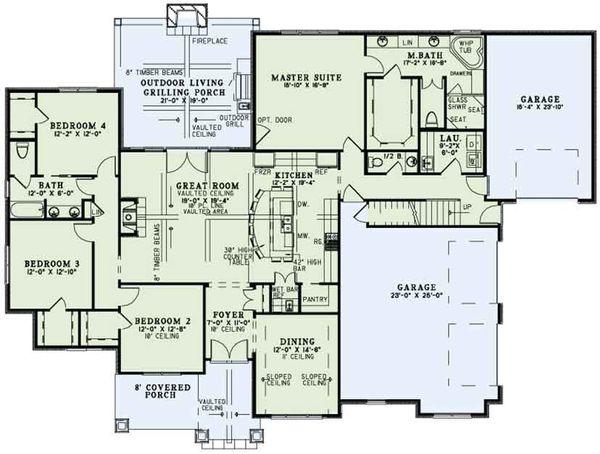Home Plan - Craftsman Floor Plan - Main Floor Plan #17-3391