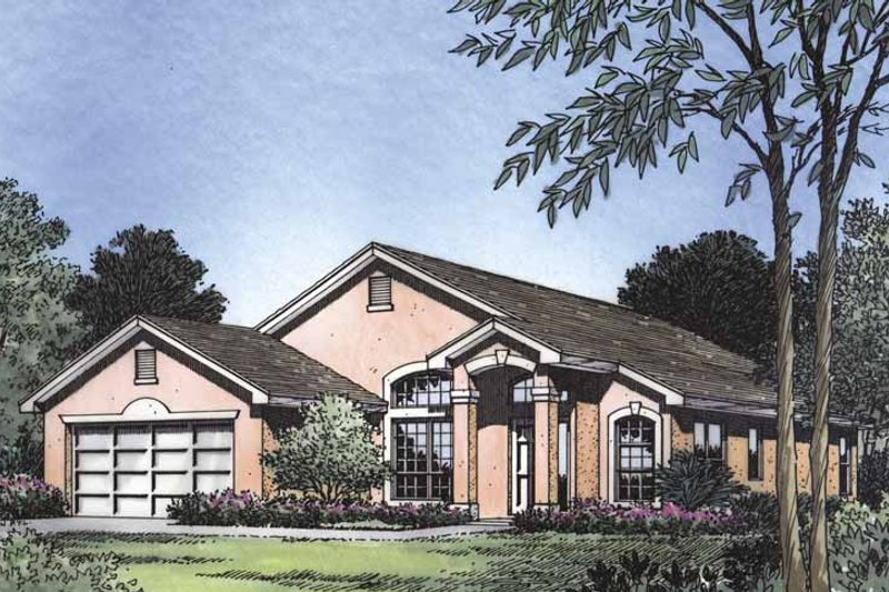 Mediterranean Exterior - Front Elevation Plan #417-480 - Houseplans.com