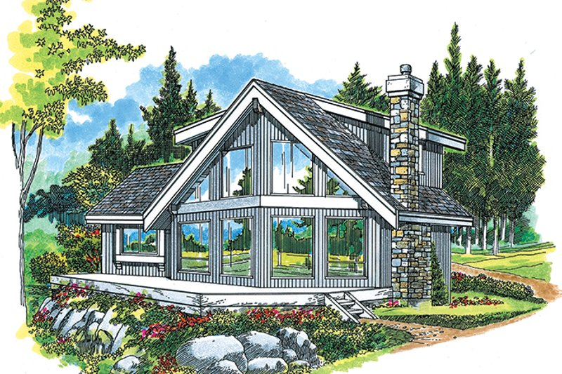 Cabin Exterior - Front Elevation Plan #47-881