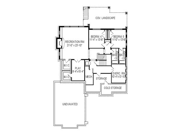 Craftsman Floor Plan - Lower Floor Plan Plan #920-106