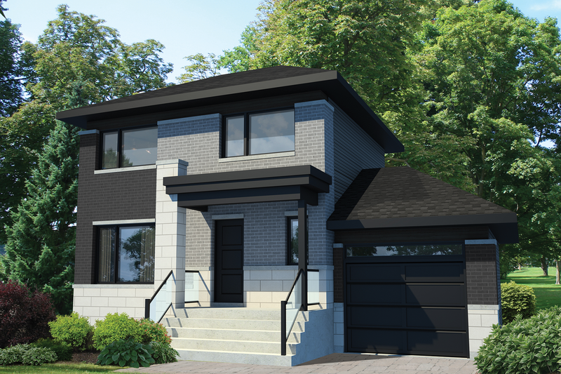 Contemporary Style House Plan - 3 Beds 1 Baths 1236 Sq/Ft Plan #25-4731 Exterior - Front Elevation