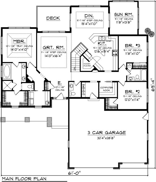 Craftsman Floor Plan - Main Floor Plan Plan #70-1087