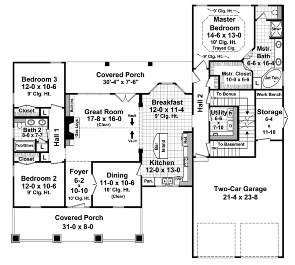 Country Floor Plan - Main Floor Plan Plan #21-429