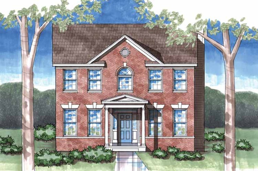Classical Exterior Front Elevation Plan 1029 55