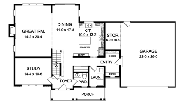 House Plan Design - Country Floor Plan - Main Floor Plan #1010-89
