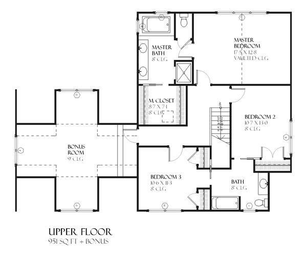 Craftsman Floor Plan - Upper Floor Plan Plan #901-82