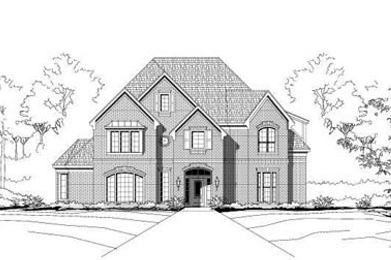European Style House Plan - 5 Beds 3.5 Baths 4679 Sq/Ft Plan #411-101 Exterior - Front Elevation