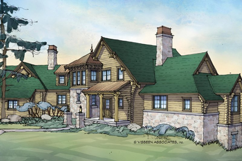 Log Exterior - Front Elevation Plan #928-258 - Houseplans.com
