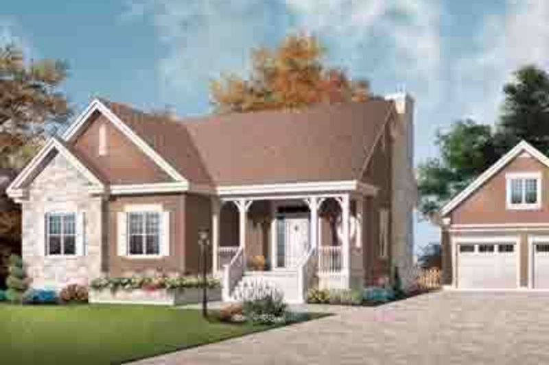 Cottage Exterior - Front Elevation Plan #23-635