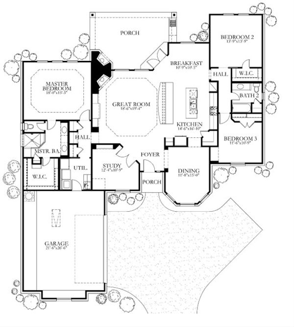 European Floor Plan - Main Floor Plan Plan #80-155