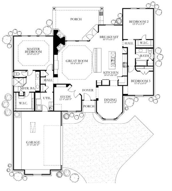 House Plan Design - European Floor Plan - Main Floor Plan #80-155