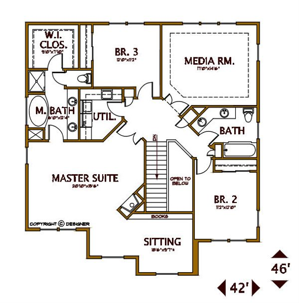 Tudor Floor Plan - Upper Floor Plan #487-6