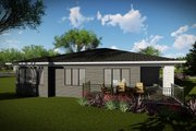 Contemporary Style House Plan - 2 Beds 2 Baths 1484 Sq/Ft Plan #70-1489 Exterior - Rear Elevation