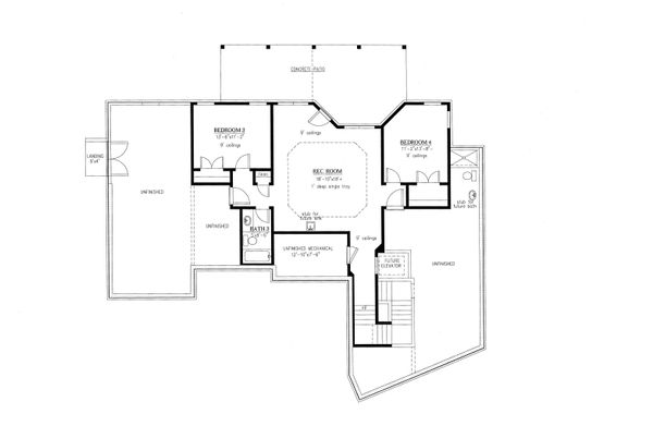 Ranch Floor Plan - Lower Floor Plan Plan #437-90