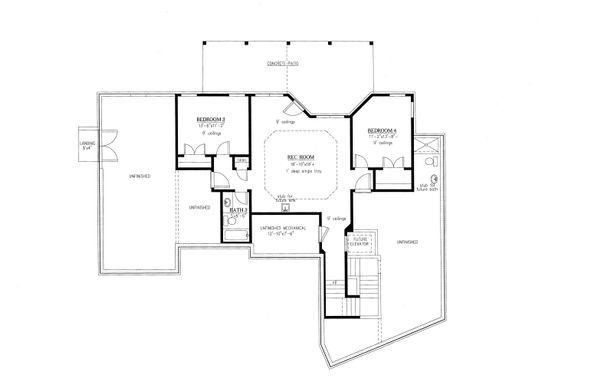 Home Plan - Ranch Floor Plan - Lower Floor Plan #437-90