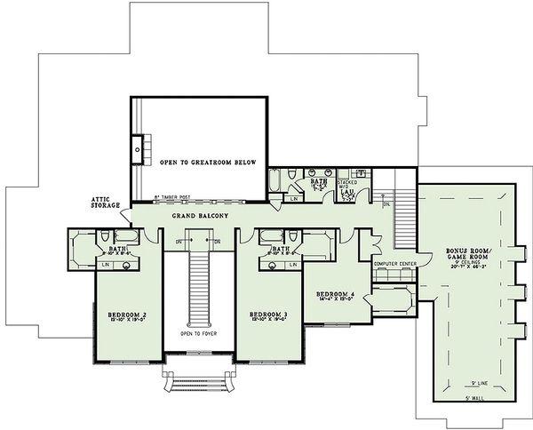 European Floor Plan - Upper Floor Plan Plan #17-2427