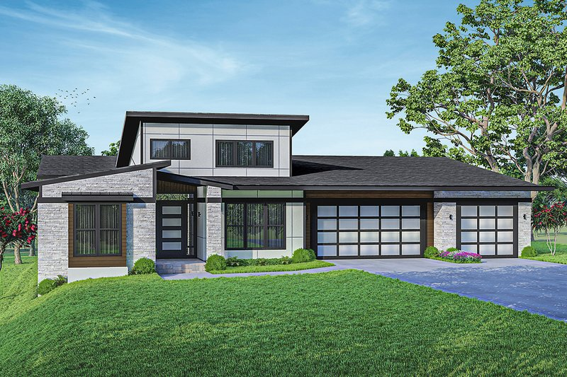 House Blueprint - Contemporary Exterior - Front Elevation Plan #124-1257