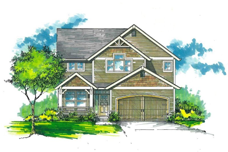 Architectural House Design - Craftsman Exterior - Front Elevation Plan #53-486