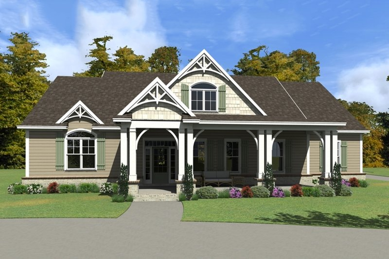 Country Style House Plan - 5 Beds 4 Baths 4692 Sq/Ft Plan #63-417 Exterior - Front Elevation