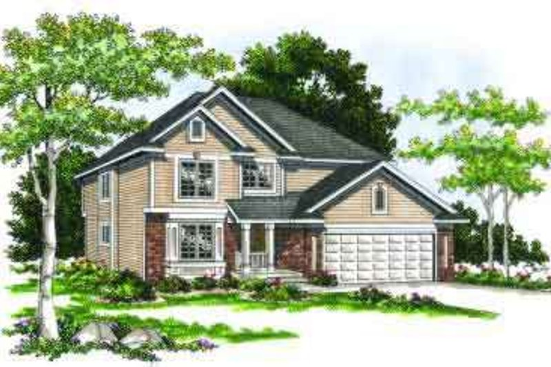 Traditional Style House Plan - 4 Beds 3.5 Baths 2288 Sq/Ft Plan #70-653 Exterior - Front Elevation