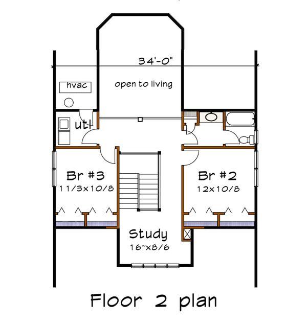 Craftsman Floor Plan - Upper Floor Plan Plan #79-264