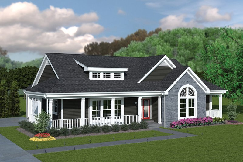 Farmhouse Style House Plan - 3 Beds 2 Baths 1591 Sq/Ft Plan #57-345